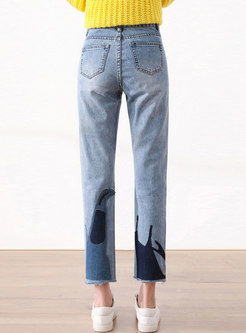Blue High Waisted Embroidered Straight Jeans