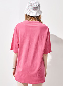 Casual Crew Neck Print Pullover Loose T-shirt