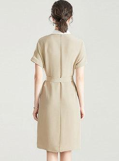Color-blocked Lapel Satin Single-breasted Shirt Dress
