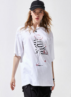 Casual Crew Neck Pullover Print Loose T-shirt