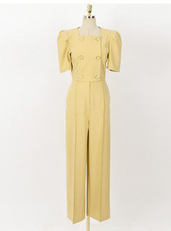 Yellow Puff Sleeve Double-breasted Straight Jumpsuits