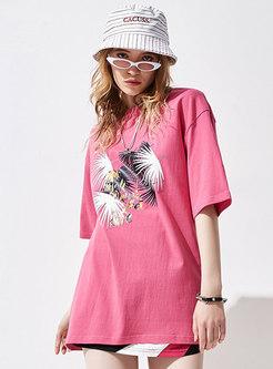 Chic Letter Print Crew Neck Cotton T-shirt