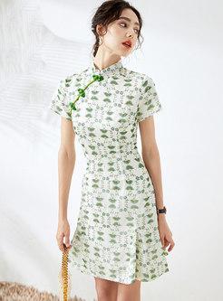 Retro Mandarin Collar Print A Line Cheongsam Dress