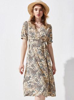 Retro Print Short Sleeve Wrap Dress