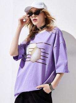 Geometric Print Crew Neck Pullover T-shirt