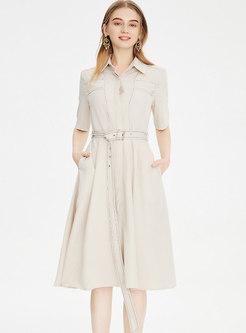 Turn-down Collar A Line Belted Shirt Dress