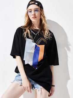 Crew Neck Geometric Print Pullover Casual T-shirt