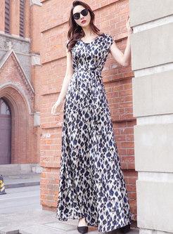 V-neck Cap Sleeve Self-tie Floral Maxi Dress