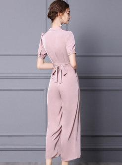 Pink V-neck Beaded Empire Waist Wide Leg Jumpsuits