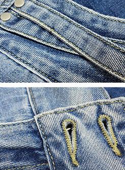 High Waisted Double Button Harem Jeans