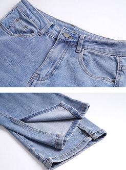High Waisted Split Capri Straight Jeans