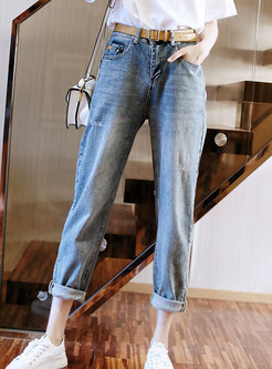 Light Blue High Waisted Ripped Straight Jeans