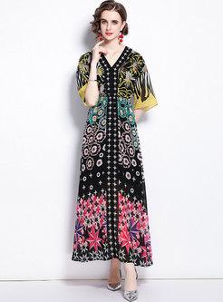 Half Sleeve Print Chiffon Beach Maxi Dress