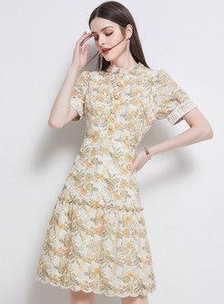 Pastoral Mock Neck Floral A Line Dress