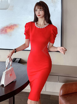 Crew Neck Pearl Embellished Bodycon Dress
