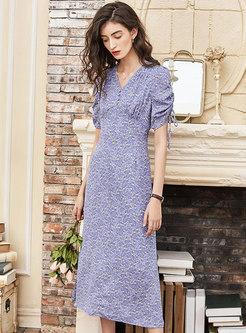 Light Purple V-neck Floral Maxi Dress
