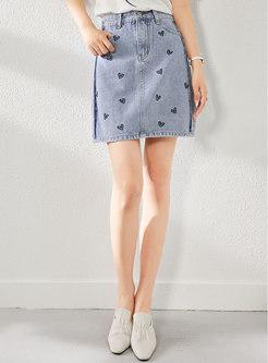 Heart Embroidered Denim Mini Skirt