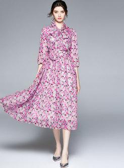 3/4 Sleeve Bowknot Floral Chiffon Maxi Dress