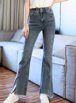 Light Blue High Waisted Split Flare Jeans