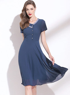Polka Dot Patchwork V-neck Chiffon A Line Dress