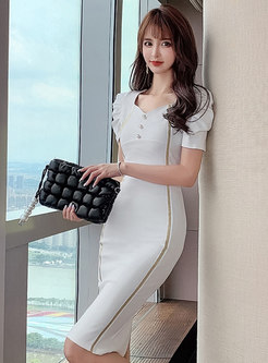 Square Neck Contrast Piping Puff Sleeve Bodycon Dress