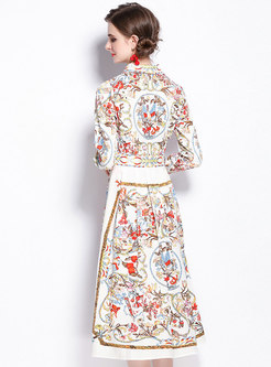 Long Sleeve Turn-down Collar Print Retro Maxi Dress