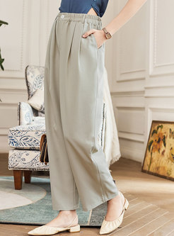 Casual Brief High Waisted Wide Leg Pants