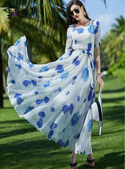 Square Neck Print High Waisted A Line Maxi Dress
