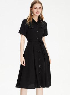 Casual Turn-down Collar Single-breasted Shirt Dress