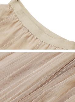 Apricot Elasticated Waist Mesh Skirt
