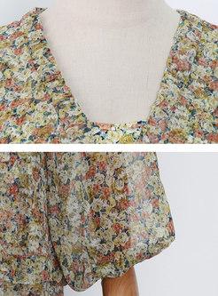 V-neck Long Sleeve Floral Chiffon Maxi Dress