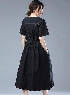 Brief Black Short Sleeve Drawcord Linen Dress
