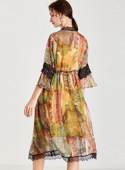 Plus Size Print Lace Chiffon Midi Dress With Cami