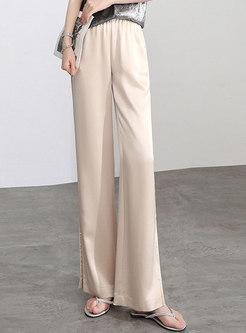 Elasticated Waist Satin Loose Split Straight Pants