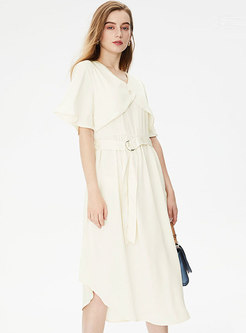 Casual Solid V-neck Irregular A Line Dress
