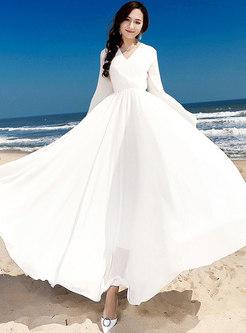Chic Lantern Sleeve Chiffon Maxi Dress