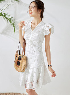 V-neck Lace Embroidered Openwork Peplum Dress