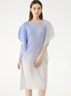 Color-blocked Batwing Sleeve Pleated Shift Dress