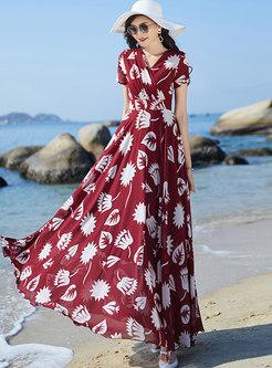 Boho V-neck Print Empire Waist Chiffon Maxi Dress
