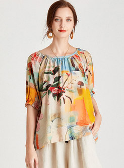 Plus Size Crew Neck Print Pullover T-shirt