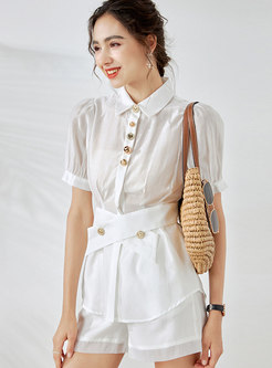 Rhinestone Button Belted Shirt Hot Pant Suits