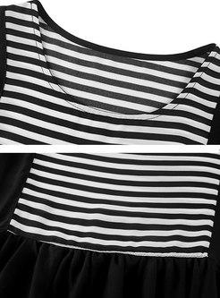 Crew Neck Half Sleeve Loose Striped T-shirt