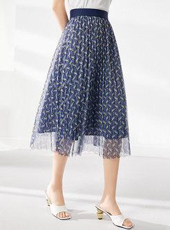 Blue High Waisted Print Mesh Pleated Midi Skirt