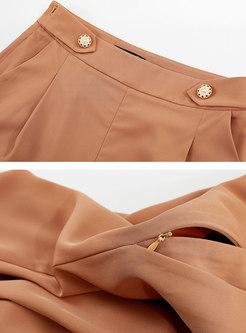 Brown Ankle-length Side Zipper Wide Leg Pants
