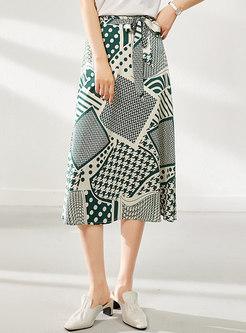 Geometric Print Wrap Soft Midi Skirt