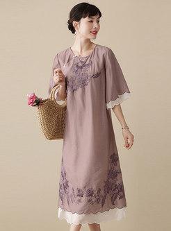 Vintage Embroidered Patchwork Silk Shift Dress