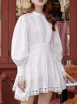 White Mock Neck Lantern Sleeve Skater Dress