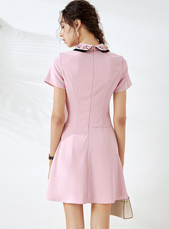 Turn-down Collar Beaded Pleated Mini Skater Dress