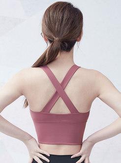 Cross Back Zipped Solid Active Bra
