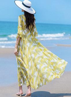Boho V-neck Half Sleeve Print Chiffon Maxi Dress